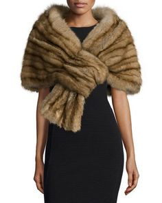 TAVQW J. Mendel Sable Fur Pull-Through Stole, Golden