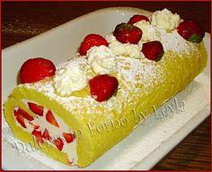 Rolade panna e fragole, ricetta con la frutta   Rotolo panna e fragole   ricetta fresca   torta di compleanno con frutta   Dulcisss in forno  
