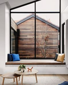 Gallery of Rose House by 💭 Located in Victoria, Australia. Styled by ✨ Photographed by 📷 Bay Window Bedroom, Bay Window Living Room, Master Bedroom, Scandinavian Cabin, Modern Scandinavian Interior, Bay Window Exterior, Rose House, Minimal Bedroom, Tiny House Cabin