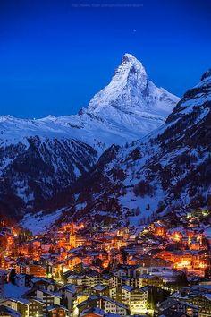 Good night Matterhorn, Zermatt, Switzerland (by Weerakarn). Beautiful and peaceful Zermatt. Zermatt, Places Around The World, Oh The Places You'll Go, Places To Visit, Around The Worlds, Wonderful Places, Beautiful Places, Top Places To Travel, Dream Vacations