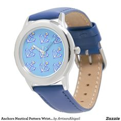 Anchors Nautical Pattern Wristwatch; Abigail Davidson Art; ArtisanAbigail at Zazzle
