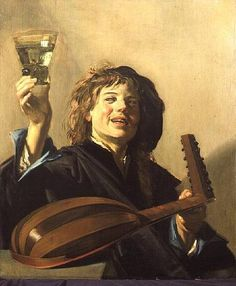 """Frans Hals """"The Merry Lute Player"""". Frans Hals the Elder (1580-1666) was a Dutch Golden Age painter. He is notable for his loose painterly brushwork, and helped introduce this lively style of painting into Dutch art. Hals was also instrumental in the evolution of 17th century group portraiture. He is best known for his portraits of wealthy citizens, and was considered a Baroque painter who practiced an intimate realism with a radically free approach. He studied under painter Karel van…"""