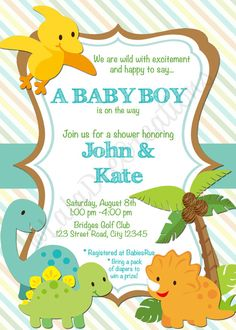 Dinosaur Baby Shower Invitation  Modern Via Etsy  Baby Shower