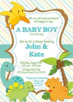 Dinosaur or Zoo Baby Shower Invitation / 5x7 / by LalaDeeCreations