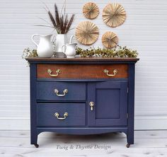 SOLD - Late Antique Washstand Small Dresser Navy and Gold with Stained Top Decor, Furniture, Shabby Chic Dresser, Refurbished Furniture, Painted Furniture, Home Furniture, Small Dresser, Refinishing Furniture, Furnishings