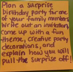 Anjali enjeti anjalienjeti no pinterest plan a surprise birthday party for one of your family members write out an invitation fandeluxe Images