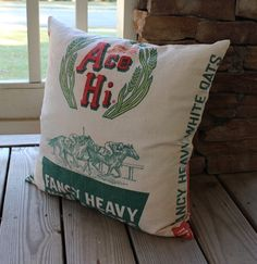 Vintage Feed Sack Pillow - Ace High - Airplane - Horse - Green and Red - 20 Inch - Kentucky Derby - Equestrian Decor. $69.00, via Etsy.