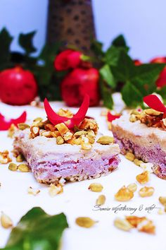 RAW PERSIAN LOVE PIE WITH ROSE & POMEGRANATE