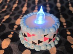 american girl doll sized color changing light up flame cake!! miniature birthday cake that lights up and changes color!
