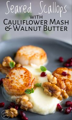 These Pan Seared Scallops with Cauliflower Puree are perfect for a Valentine's dinner or a romantic date night at home. It looks sensational but really is so simple to make, plus it is naturally gluten free, low carb and Keto frie Fish Recipes, Seafood Recipes, Gourmet Recipes, Cooking Recipes, Gourmet Desserts, Gourmet Foods, Water Recipes, Frozen Desserts, Seafood Appetizers