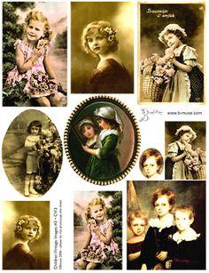 Collage Sheets Vintage children images