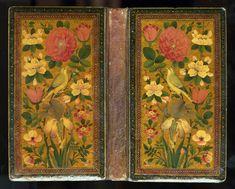 Divan de Hafiz Encuadernación: laca original gul-u-bulbul (flores ruiseñor) motivo de oro, rojo y marco decorativo negro.  enlace también: http://www.library.yale.edu/neareast/exhibitions/Islamic_Book/e15.html
