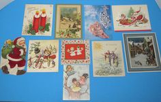 Vintage 1950's 60's Christmas Greeting Cards Angels Santa Snowmen Kitten Candles - $19.99
