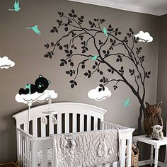 swaying tree with sleeping bear sticker by wall art | notonthehighstreet.com