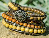 Leather Wrap Bracelet | Wood Beads | Yoga Jewelry | Natural | Bohemian | Hippie Bracelet | Gypsy | Boho Accessory | Zen | Gift