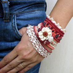 Red - White Crochet Bracelet Cuff, Beaded Bracelet Cuff, Crochet Jewelry, Freeform Crochet Cuff, Glass seed beads, Crocheted flower