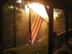 American flag at sunrise