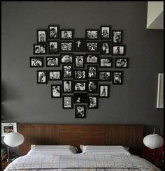 photos au mur en forme de coeur au dessus du lit