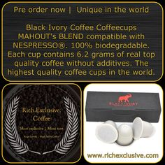 ‪Black Ivory Coffee CoffeeCups MAHOUT'S BLEND compatible with NESPRESSO®‬ ‪MAHOUT'S BLEND – THAI WASHED COFFEE BEANS MIXED WITH BLACK IVORY COFFEE‬ ‪To honor the great work of the Mahouts in raising and caring for the elephants, Black Ivory has created a special Blend. With countless tastings, they have created the perfect blend of coffee beans into a balanced, exquisite new blend.‬ ‪The roasting team has created a special roast that enhances all Black Ivory's great flavors, so you can enjoy… Coffee Beans, Coffee Cups, Biodegradable Products, Nespresso, Ivory, Elephants, All Black, Raising, Roast