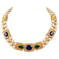 Bulgari 18k. Gold Sapphire, Emerald & Pearl Necklace.