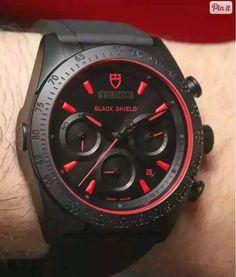 TUDOR Fastrider Black shield Chronograph Black Dial Black Leather Mens Watch