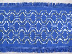 Vibrant Blue Monk's Cloth Table Runner by rdrunnercreations