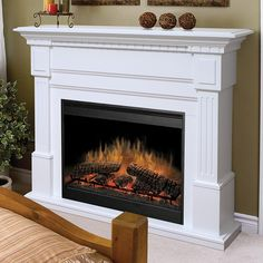 I like the firebox on this electric fireplace.Dimplex Sussex White Electric Fireplace Mantel Package - I want this one! Electric Fireplaces Direct, White Electric Fireplace, White Fireplace, Faux Fireplace, Fireplace Inserts, Modern Fireplace, Fireplace Mantels, Fireplace Design, Fireplace Drawing