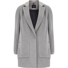 Dorothy Perkins Brushed patch pocket coat (135 BRL) ❤ liked on Polyvore featuring outerwear, coats, jackets, coats & jackets, grey, sale, long sleeve coat, gray coat, dorothy perkins coats and dorothy perkins