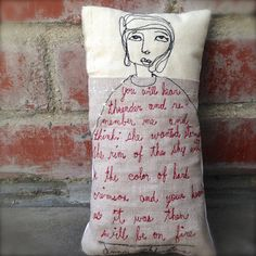 Free motion stitched art doll pillow by jennydoh on Etsy, $40.00