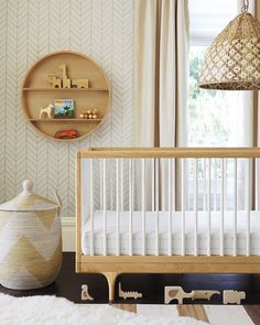 Caravan Crib by Kalon Studios | Serena & Lily. Lovely natural modern nursery / baby boy room