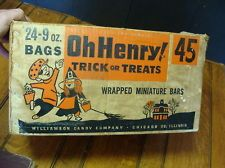 Vintage Halloween Ephemera ~ Oh Henry Trick or Treats Wrapped MiniatureCandy Bars Box * Circa, 1950's