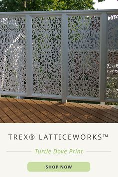 Create a secluded space for your evenings outdoors with Trex® LatticeWorks™. Or, try Trex® Fencing for a more defined border for your yard.