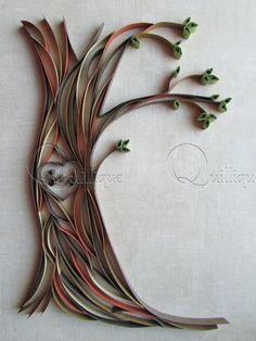 Piquants arbre sculpté siglée en papier / cadeau du Couple / mariage papier / cadeau anniversaire / 1er anniversaire / graphique quilling-amoureux arbre ART
