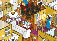 rod hunt illustrates 10 ikea families + their homes for russian campaign