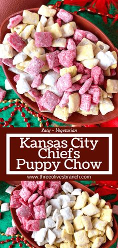 Root for your favorite NFL team with this Kansas City Chiefs Puppy Chow! Rice chex mix is covered with red, yellow, and white candy melts and powdered sugar for a game time dessert and appetizer recipe. Great for football parties and the Super Bowl. #gameday #kansascitychiefs Football Food, Football Parties, Chiefs Football, Chiefs Game, Tailgate Parties, Football Season, College Football, Tailgating Recipes, Tailgate Food
