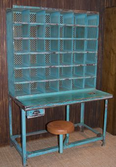 Beautiful letter sorter available at The Old Cinema. This would make a great desk in an industrial setting.
