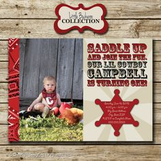 Western Cowboy Photo Birthday Party by designingforpeanuts on Etsy