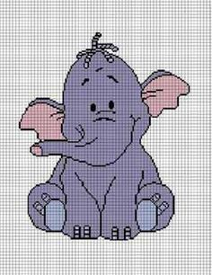 TOO CUTE BABY ELEPHANT CROCHET PATTERN GRAPH CHART AFGHAN CROSS STITCH BUY 2 GET 1 FREE  SEE DETAILS