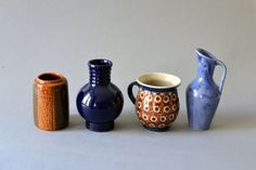 Vintage pottery west German instant vases by MightyVintage on Etsy, Vintage Pottery, Window Sill, Vintage Shops, Vases, I Shop, German, Miniatures, Etsy, Gifts