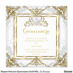 Elegant Princess Quinceanera Gold White Pearl Invitation