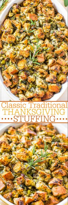 Classic Traditional Thanksgiving Stuffing Recipe - Averie Cooks