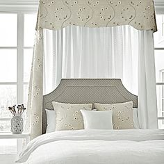 Seriously in love with this bed using fabrics from Anna French! - Olympus Embroidery from Natural Glimmer Collection Anna French, French Bed, Bed Ensemble, Headboard Designs, Fashion Room, Fine Furniture, Beautiful Bedrooms, Interior Design Inspiration, Soft Furnishings