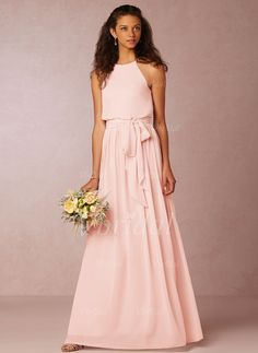 A-Line/Princess Scoop Neck Floor-Length Chiffon Zipper Up Spaghetti Straps Sleeveless No Spring Summer Fall Bridesmaid Dress