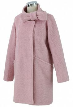 Wool-Felt Tweed Coat with Bowknot in Pink