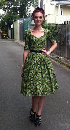A Lovely green print vintage dress.
