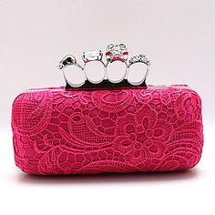 XIU Moda Charme Lace Crânio Evening Bag (Fuchsia) – BRL R$ 51,27