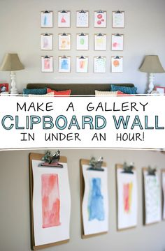 how to make a clipboard gallery wall! via Flanigan Flanigan Marie at white house black shutters Takes under an hour to make and much cheaper than frames. Clipboard Art, Displaying Kids Artwork, Diy Décoration, Easy Diy, Easy Home Decor, Creative Crafts, Decoration, Playroom, Art For Kids