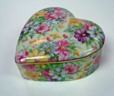 Vintage Porcelain Chintz Heart Box by ThePeacockFeather on Etsy, $14.00