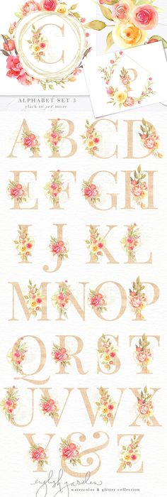 English Garden Watercolor Bundle by Eclectic Anthology on Creative Market - Floral designs letters Hand Lettering Alphabet, Calligraphy Letters, Floral Letters, Beautiful Wedding Invitations, Arte Floral, Letters And Numbers, Watercolor Flowers, Design Elements, Decoration