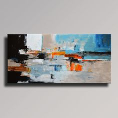 75 Large ABSTRACT PAINTING Gray Black White Blue by Art70studio